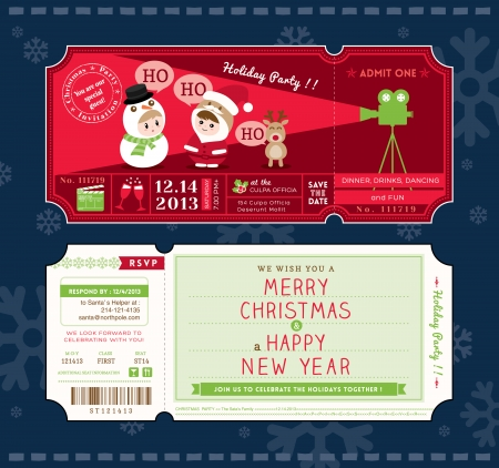 Christmas Party Cartoon Ticket Card Design Template Vector