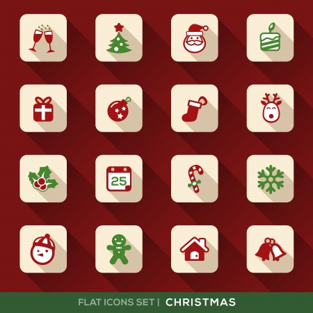 Set of Christmas Flat Icons with long shadow