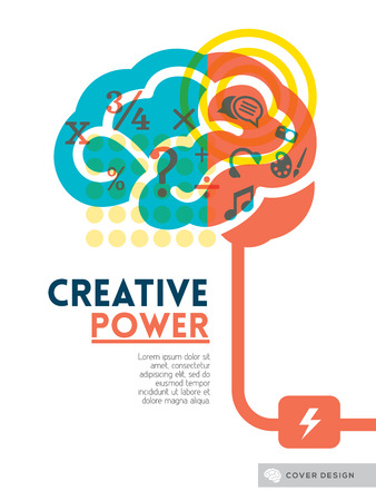 thinking icon: Creative brain Idea concept background design layout for poster flyer cover brochure