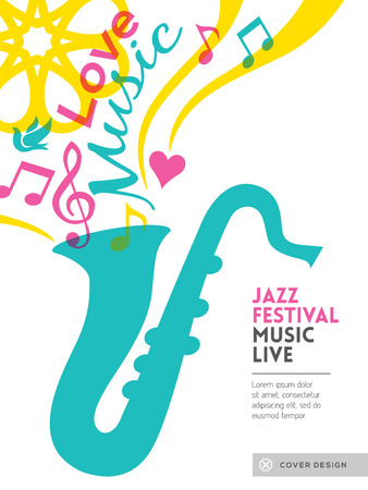 jazz music: Jazz music festival graphic design background template layout for card poster flyer