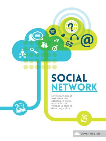 ポスター チラシ カバー パンフレットのクラウド社会メディア ネットワーク概念の背景デザイン レイアウト  イラスト・ベクター素材