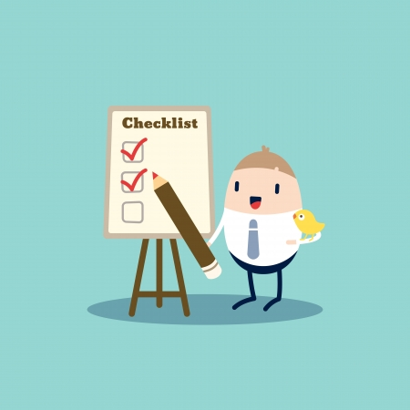 survey: Business cartoon character checking the checklist board Illustration