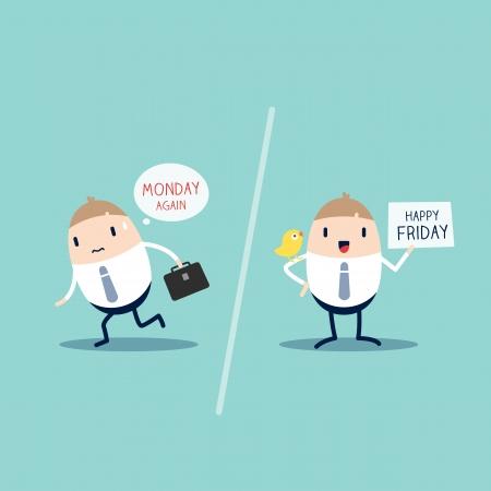 Werknemer uitdrukking op maandag VERSUS vrijdag