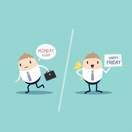 bored: Worker expression on Monday VS Friday