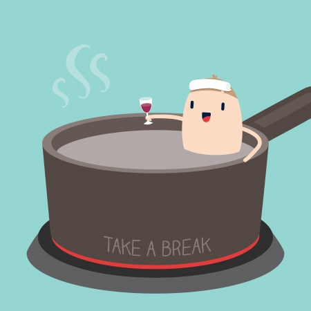 skillet: Man in Hot tub with Take a Break concept cartoon Illustration