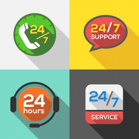 customer service phone: Customer Service 24 hours Support Flat Icon set