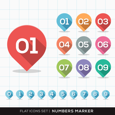 number button: Numbers Pin Marker Flat Icons with long shadow Set for GPS or Map