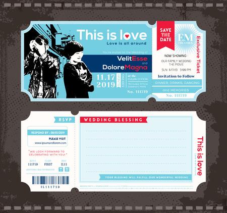 Vector Ticket Wedding Invitation Design Template Illustration