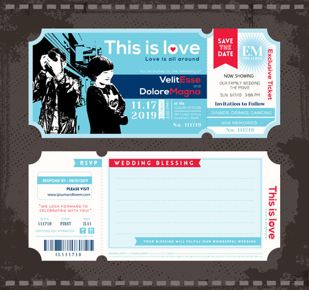 Vector Ticket Wedding Invitation Design Template Vectores