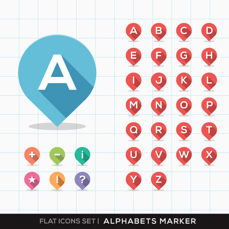 az: Set of A-Z Alphabet Pin Marker Flat Icons with long shadow for GPS or Map