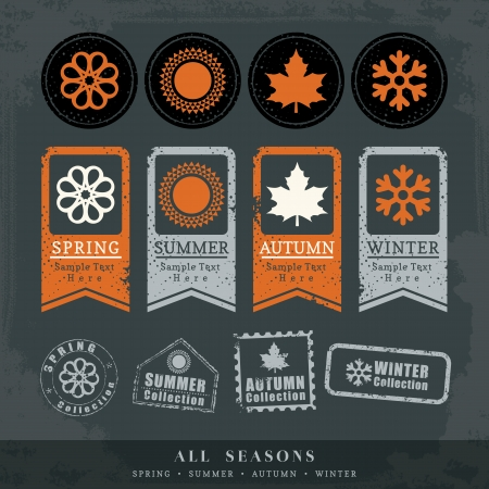 winter season: four seasons symbol vector illustration for postage stamp label tag sticker Illustration