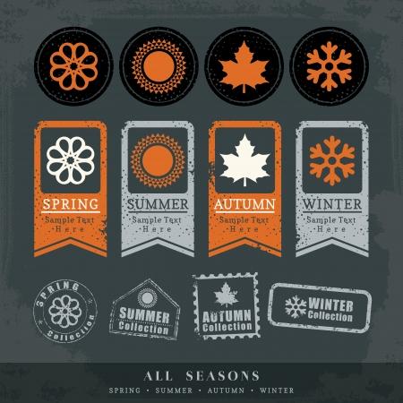 four seasons: four seasons symbol vector illustration for postage stamp label tag sticker Illustration