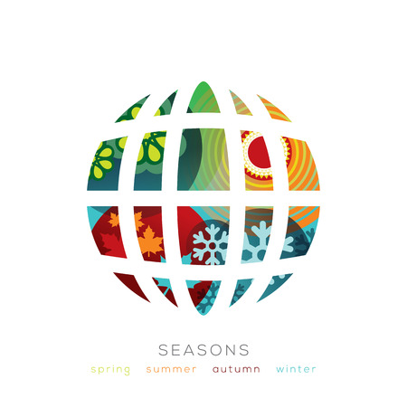 Vector Globe illustration with four seasons concept Vector
