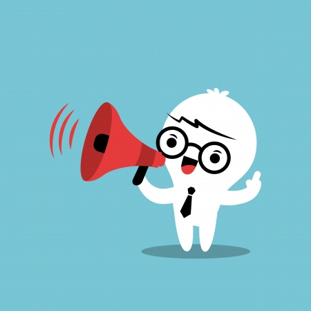 clipart speaker: Business cartoon character with megaphone make an announcement