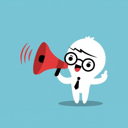 personnage de dessin animé d'affaires avec le mégaphone faire une annonce