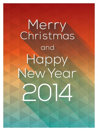 Merry Christmas and Happy New Year 2014 words on colorful abstract triangle Vector Background