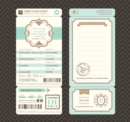 boarding card: Stile vintage ticket di imbarco Wedding Invitation Template Vector