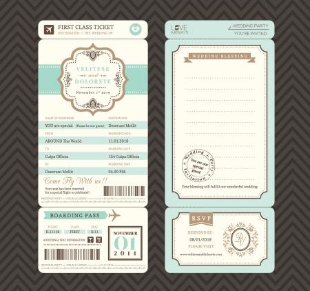stempel reisepass: Vintage style Bordkarte Ticket Hochzeitseinladungsschablone Vector