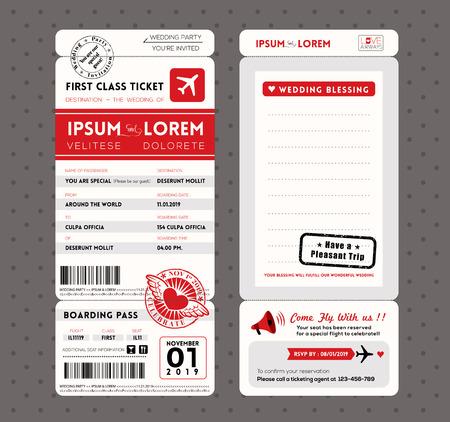 モダンな搭乗渡すチケット結婚式招待状のグラフィック デザインのベクトル テンプレート  イラスト・ベクター素材