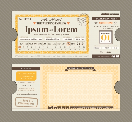wedding symbol: Vector Train Ticket Wedding Invitation Design Template