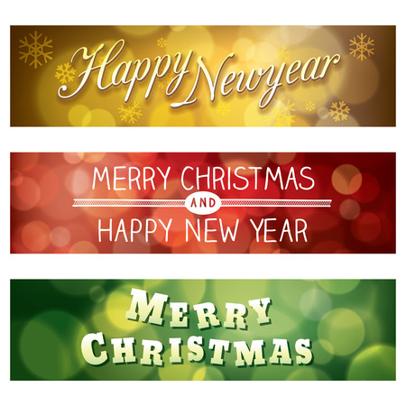 headers: Merry Christmas and Happy New Year Vector Bokeh Background Banner
