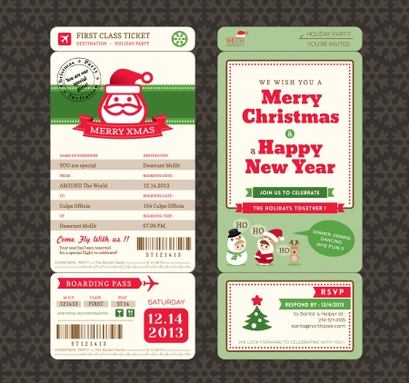 Christmas Card Design Boarding Pass Ticket Template Illustration