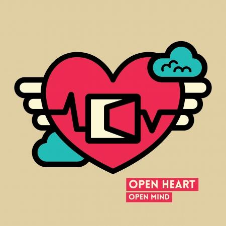 awaken: Open Heart and Mind Freedom Concept Vector Illustration Illustration