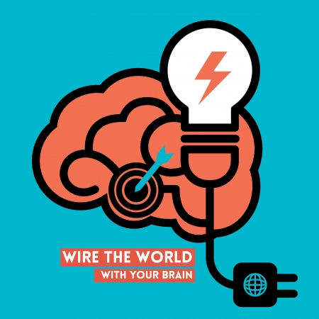 Wire the World Creative Brain Icon with Light Bulb Power Concept Illustration