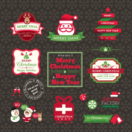 Vector set of Christmas labels and frames design Vector