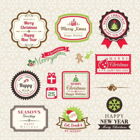 Christmas Collection of labels and frames design elements Vector