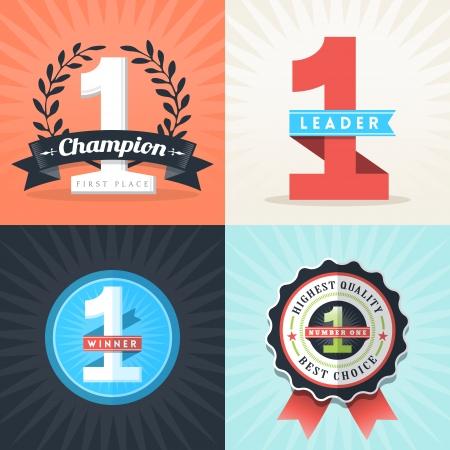 umÃ? ní: Diseño Flat Number One Primer Lugar cintas Ganador e insignias