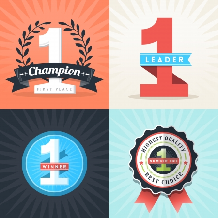 achievement clip art: Flat Design Number One First Place Winner ribbons and badges