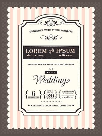 tarjeta de invitacion: Invitación de la boda de la vendimia Modelo de la frontera y el marco