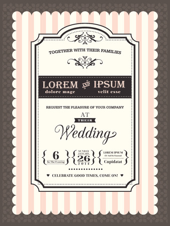 Vintage Wedding invitation border and frame template Vector
