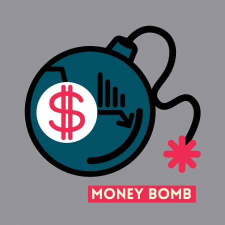 Money Bomb Dollar crisis concept illustration Stock Vector - 23857542