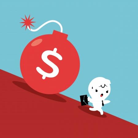 runaway: Hombre de negocios Huyendo de la rodadura de la bomba de la deuda