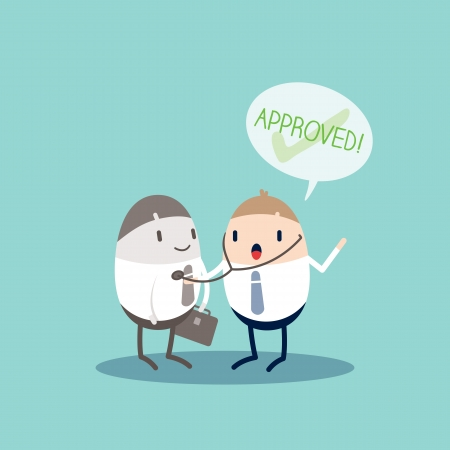 qc: Approved Quality Control Business cartoon illustration