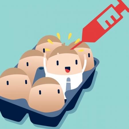 coup de pouce: Homme d'affaires Boost avec le concept de motivation d'injection illustration Illustration
