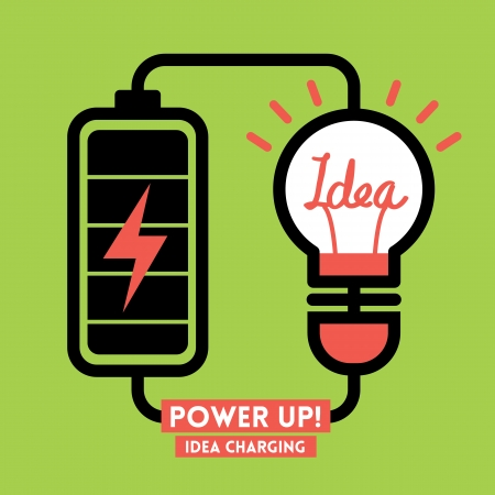 battery charger: Lightbulb Idea Charging Battery Power Vector