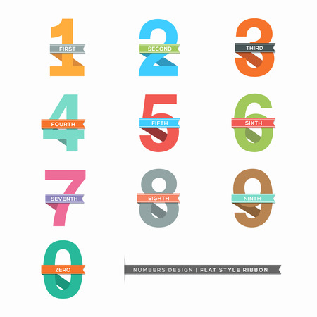 one to one: Vector Set of Flat Design Numbers 0-9 with Ribbons Illustration
