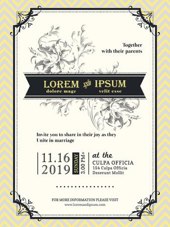 Plantilla de borde y marco de invitación de boda vintage Ilustración de vector