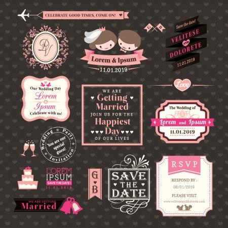 wedding: 婚禮元素標籤和幀復古風格 向量圖像