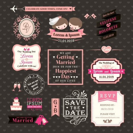 marriage cartoon: Wedding Elements labels and frames Vintage Style Illustration