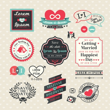 cartoon wedding: Wedding Elements labels and frames Vintage Style Illustration