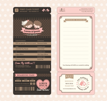 Cute Groom and Bride Vintage Boarding Pass Ticket Wedding Invitation design Template Vector Vector