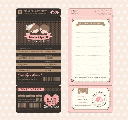 Netter Bräutigam und Braut-Weinlese-Bordkarte Ticket-Hochzeits-Einladung Design-Vorlage Vektor Standard-Bild - 24551548