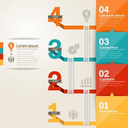 Number 1234 step to success ladder with flat design layout
