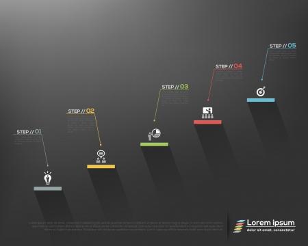 Úspěch: Moderní obchodní schodišťové stupně na volby úspěchu na šedém pozadí Vektorové grafické šablony