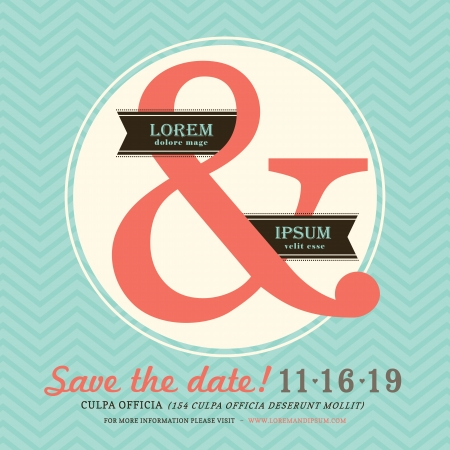 Modern Ampersand Wedding invitation Vector