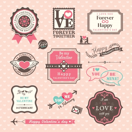 Valentines day Elements labels and frames Vintage Style